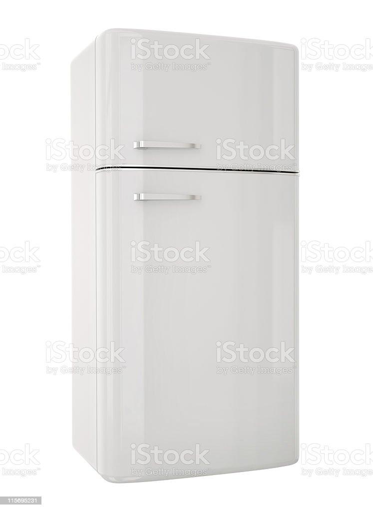 Weiße retro Kühlschrank auf weißem Hintergrund – Foto