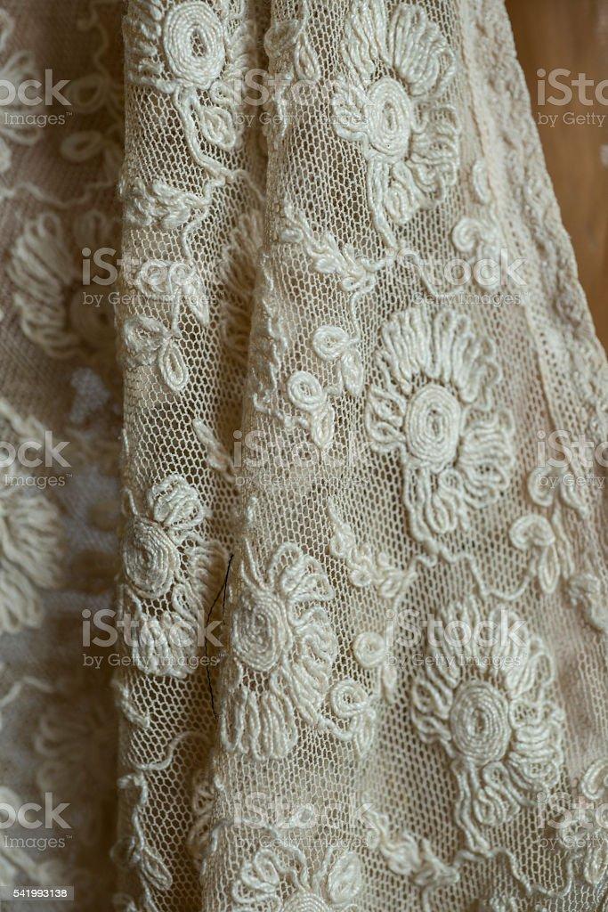 White Retro Lace Fabric Swatch stock photo
