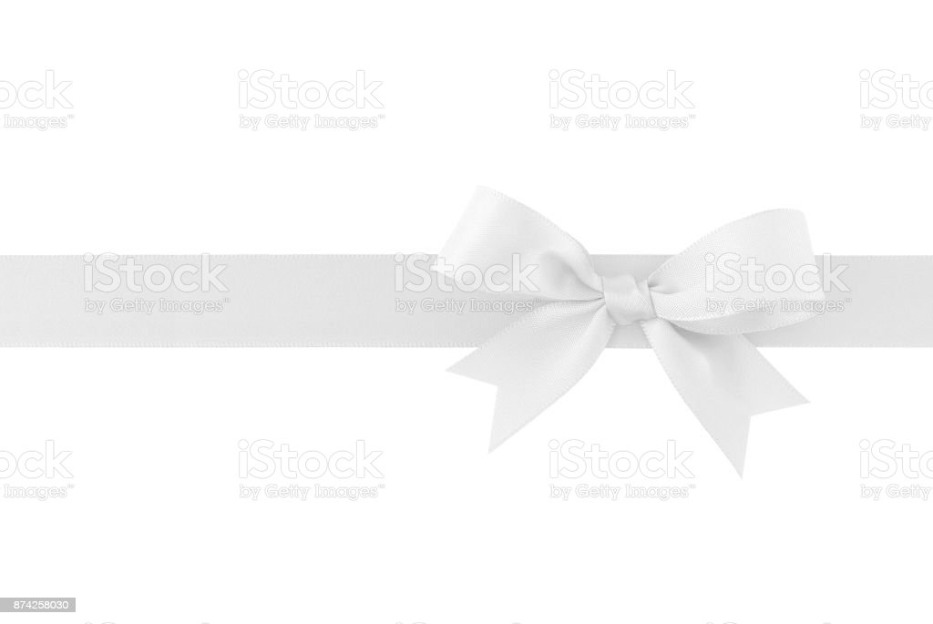 white ribbon with bow isolated on white background stock photo