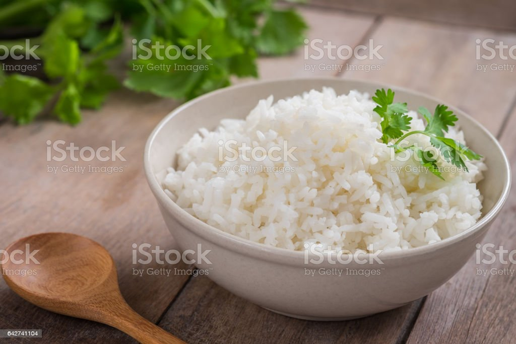 White rice in bowl stock photo
