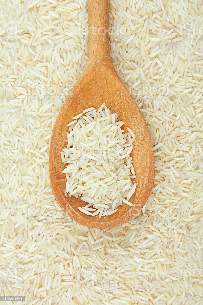 White rice on the spoon stock photo