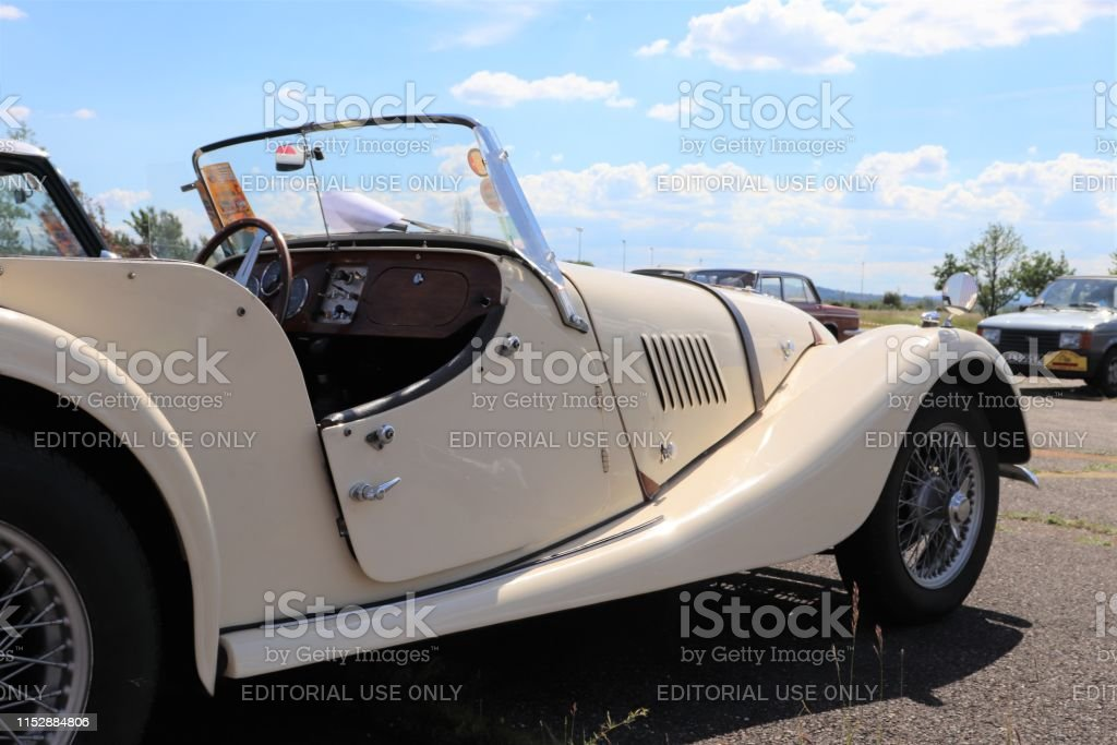 White Roadster Morgan car, vintage car, year 1965, at the exhibition...