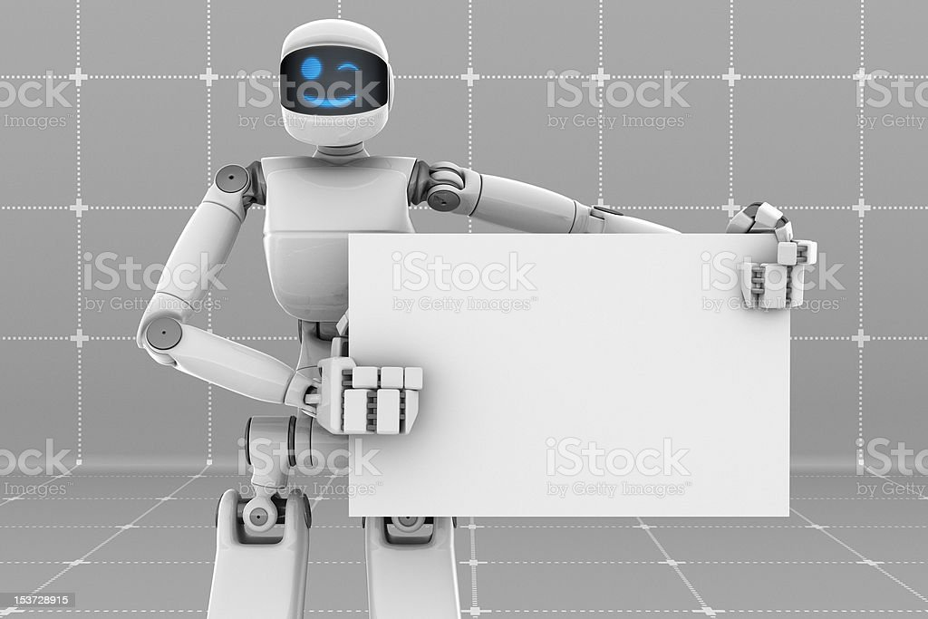 White robot with sign board royalty-free stock photo