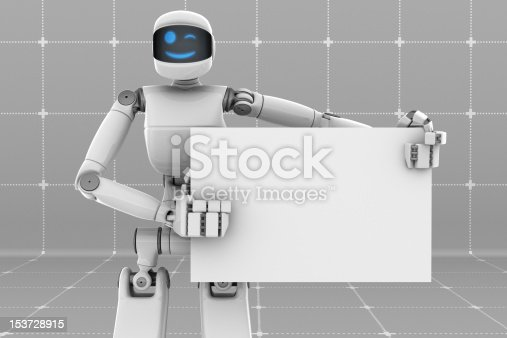 White futuristic robot holding and pointing a white sign board. Smiling face.