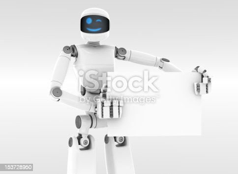 White futuristic robot holding and pointing a white sign board. Smiling face. White Background.