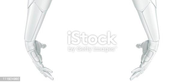 istock White robotic hands 111924992