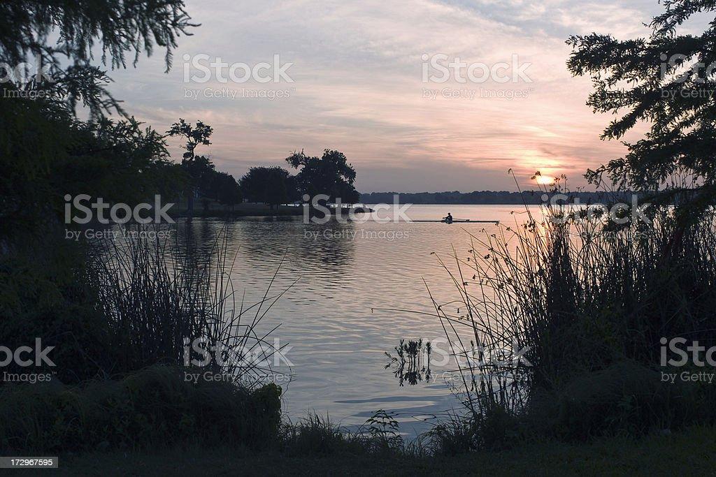 White Rock Lake Rower royalty-free stock photo