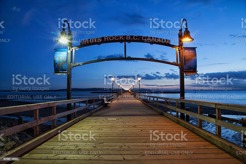 White Rock Pier in blue hour, BC, Canada stock photo