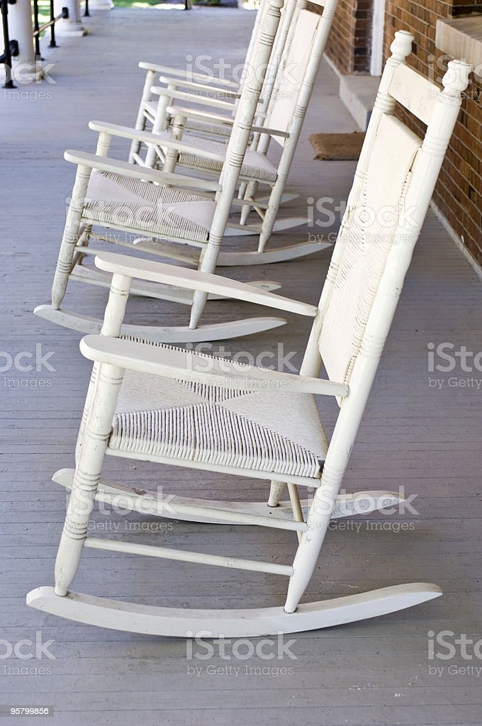 White Rocking Chairs royalty-free stock photo