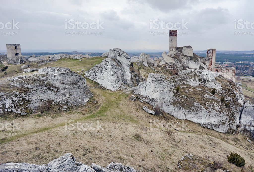white rocks and ruined medieval castle stock photo