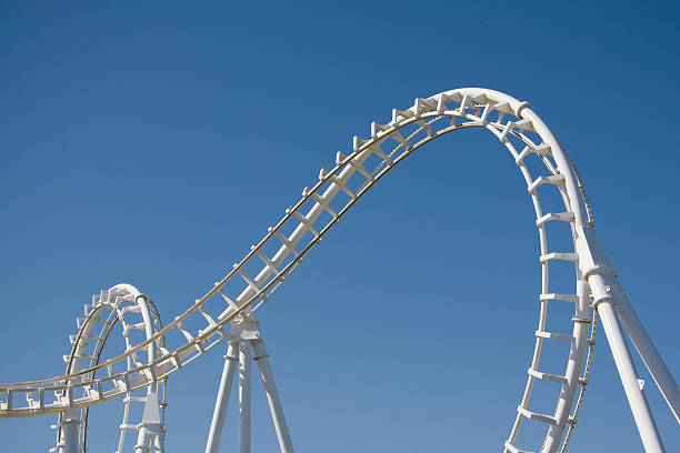 White Rollercoaster Loops Against a Clear Blue Sky stock photo
