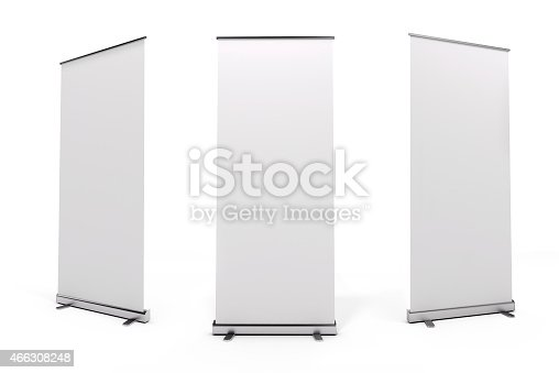 istock White roll-up banner from three angles 466308248