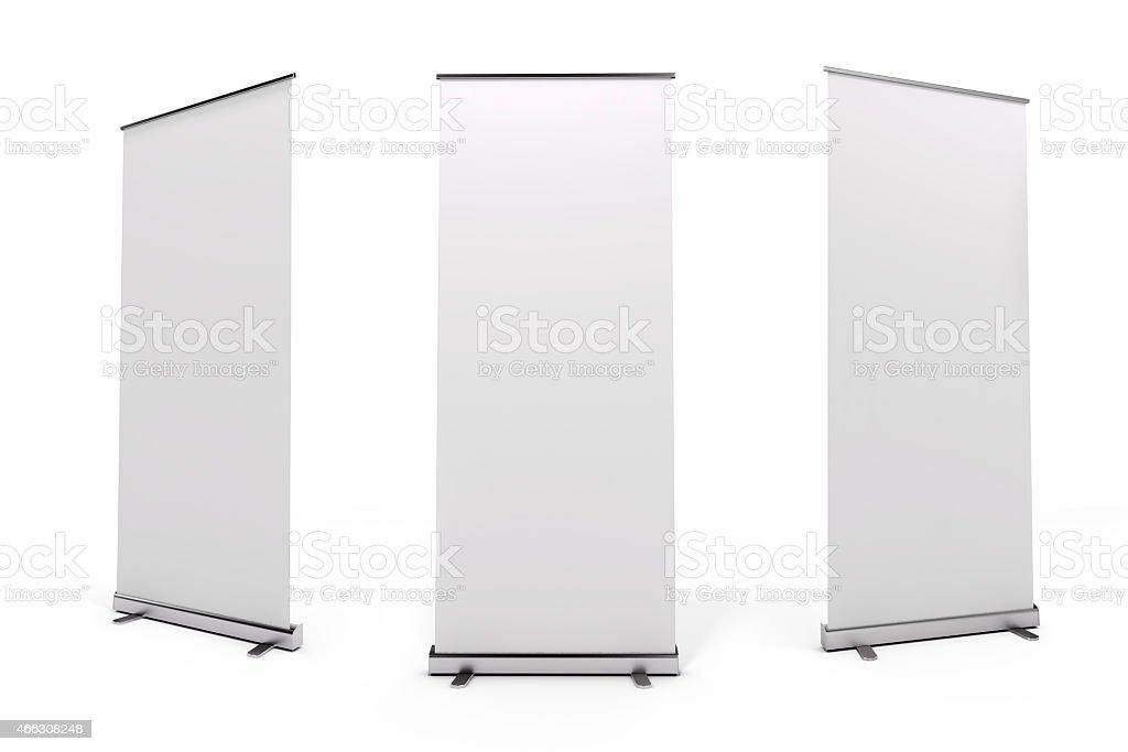 3 d blanco blanco rull baneer de - foto de stock