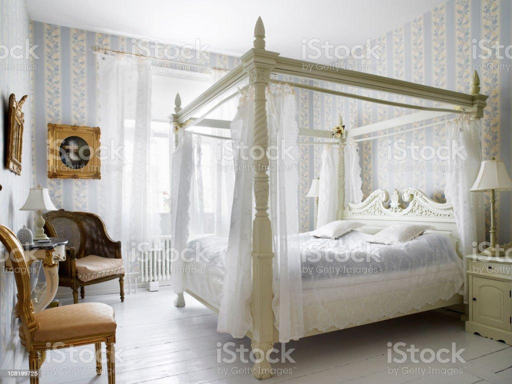 White Romantic Decorated Bedroom stock photo