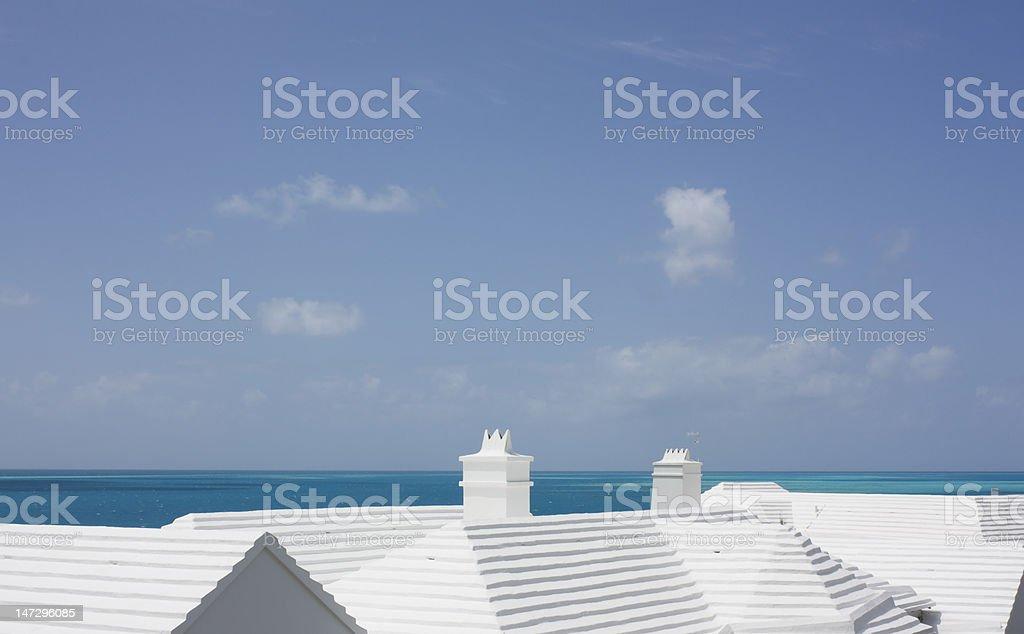 White roofs in Bermuda stock photo