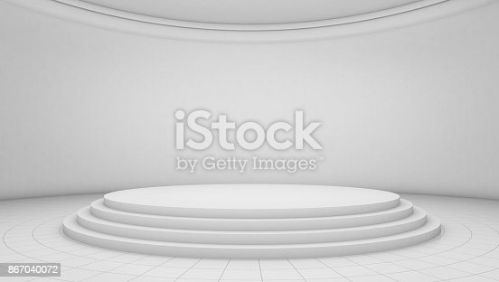 istock White room background, circle stage platform 867040072