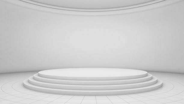 White room background, circle stage platform stock photo