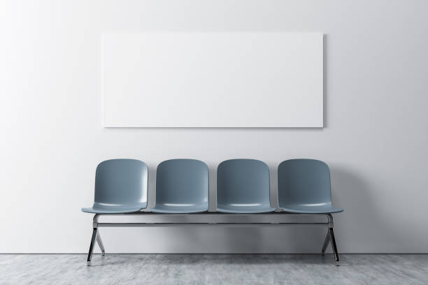 white room, gray chairs, poster - vinyl banner mockup stock photos and pictures