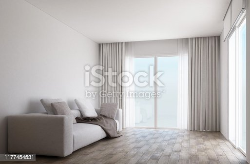 istock White room interior space with wooden floor and slide door with curtain. 3d render 1177454531