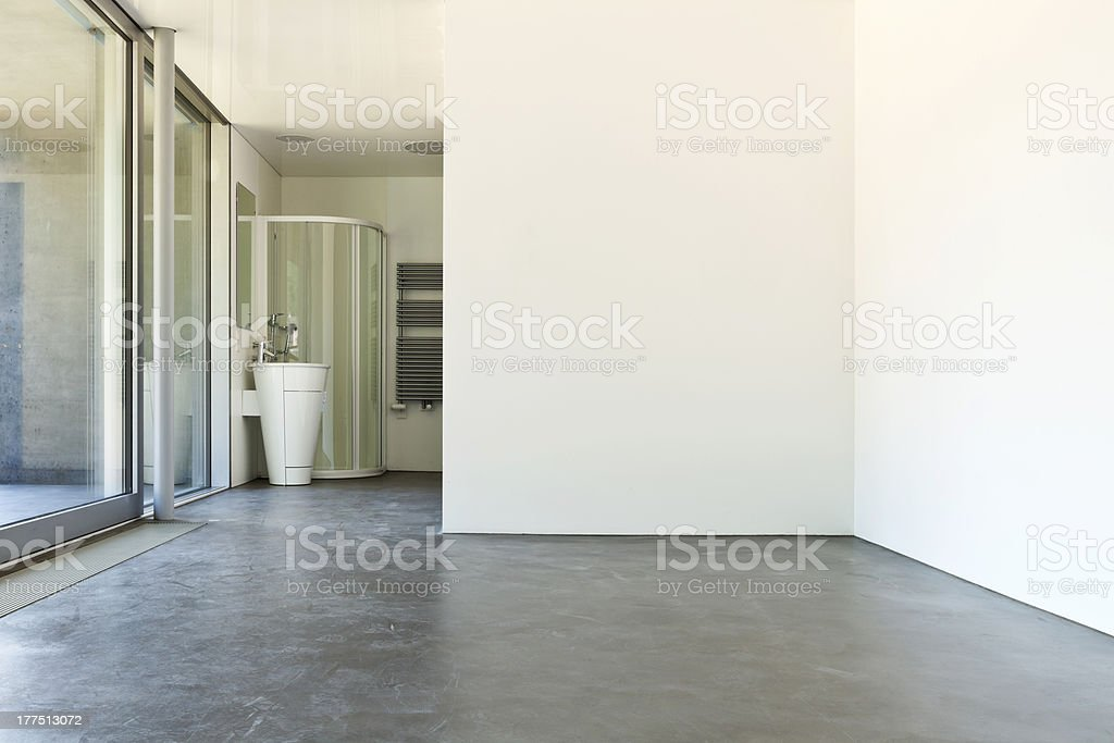 white room with bathroom stock photo