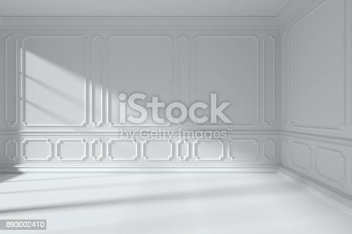 istock White room with classic style molding frames on walls 893002410
