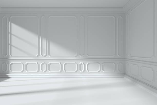 white room with classic style molding frames on walls - classical style stock photos and pictures