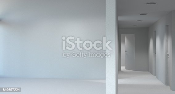 610958498 istock photo white room with door and window in new home 3D illustration Empty room 849657224
