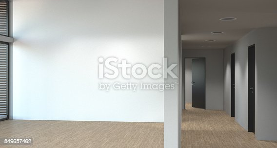 610958498 istock photo white room with door and window in new home 3D illustration Empty room new home 849657462