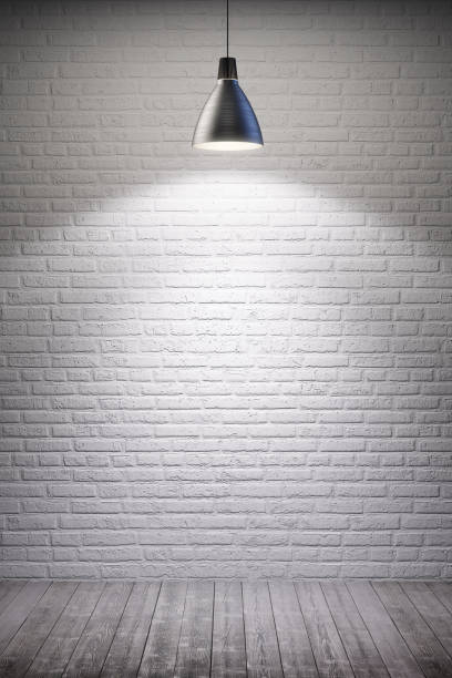 white room with lamp stock photo