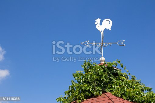 870218154 istock photo White rooster weather vane show the wind direction on blue sky background 821416356