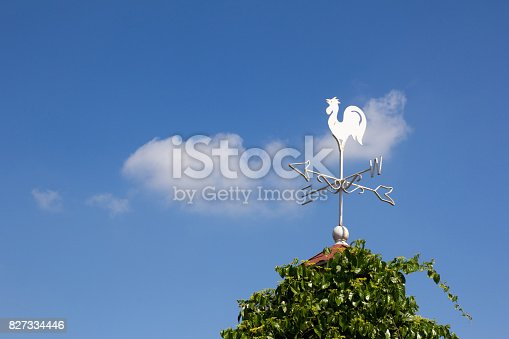 870218154 istock photo White rooster weather vane show the wind direction on blue sky background 827334446