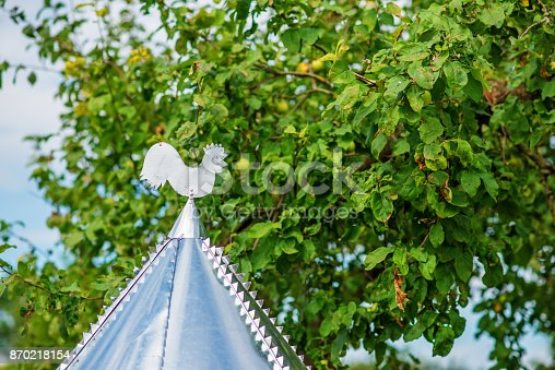 istock White rooster weather vane show the wind direction 870218154