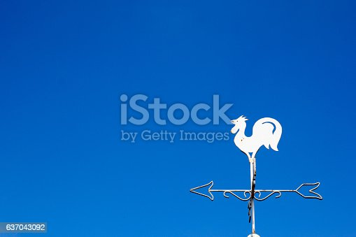870218154 istock photo White rooster weather vane show the wind 637043092