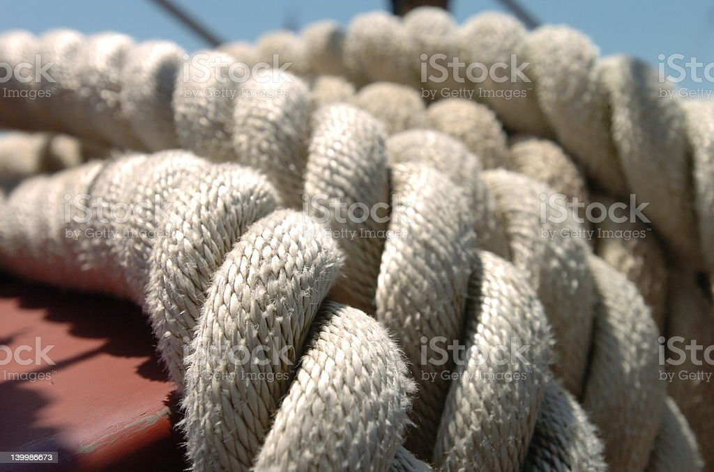 white rope, detail stock photo