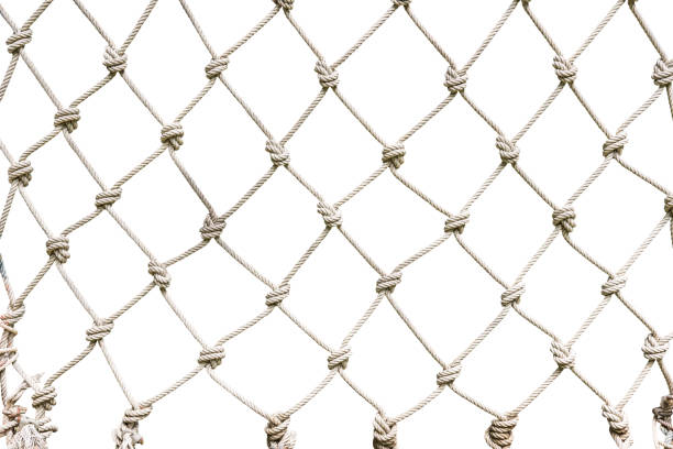 White rope net woven Rope net woven isolated on white background with clipping path fishing net stock pictures, royalty-free photos & images