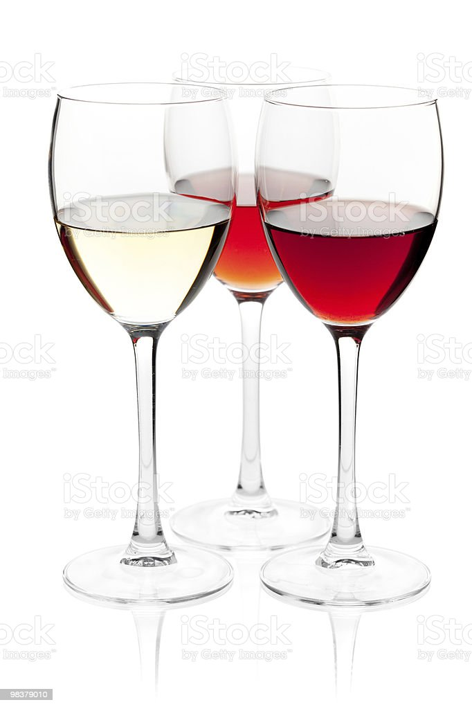 White, rose and red wine royalty-free stock photo