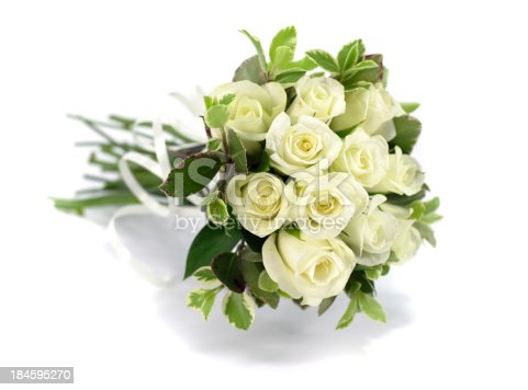 White rose bouquet on isolated white background