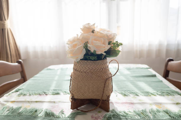 White rose flowers bouquet on a table stock photo