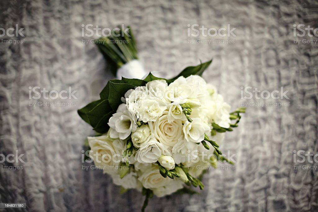 White rose wedding bouquet royalty-free stock photo