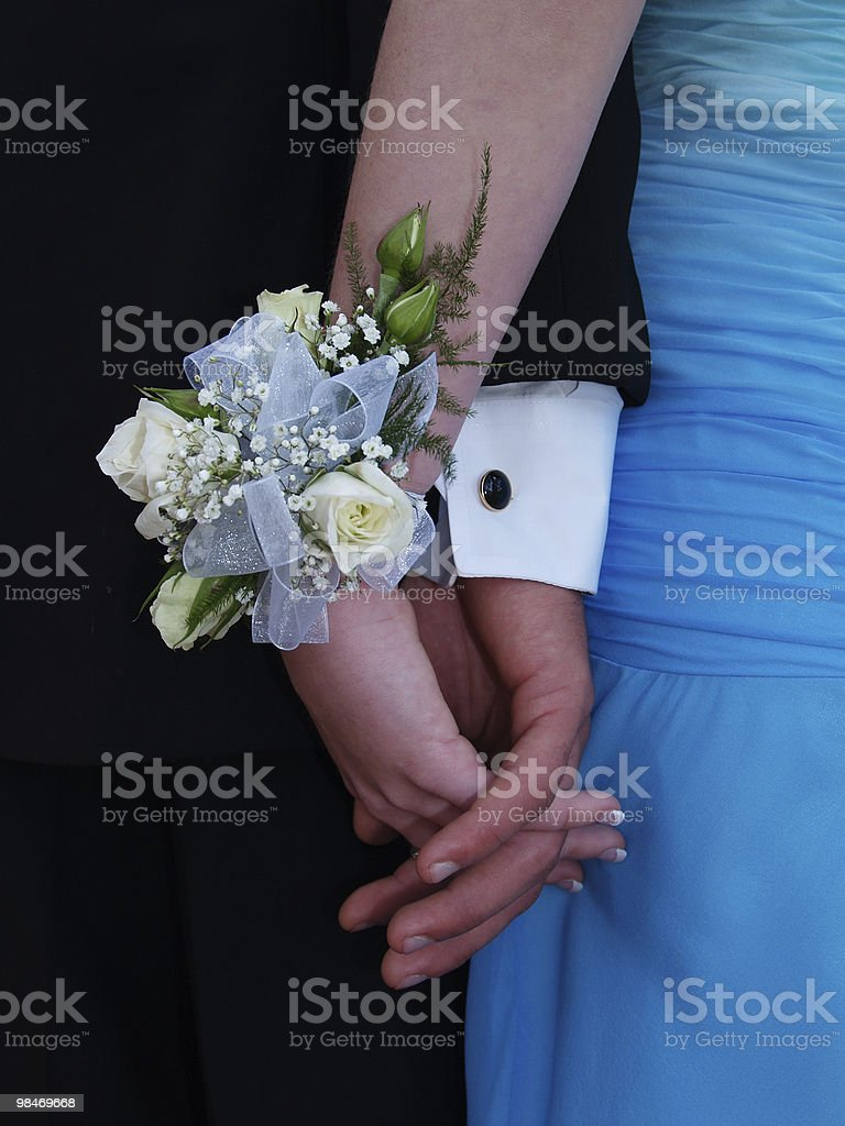 White Rose Wrist Corsage royalty-free stock photo
