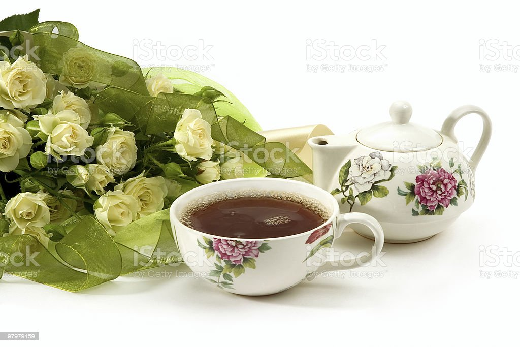 White roses bouquet and tea royalty-free stock photo