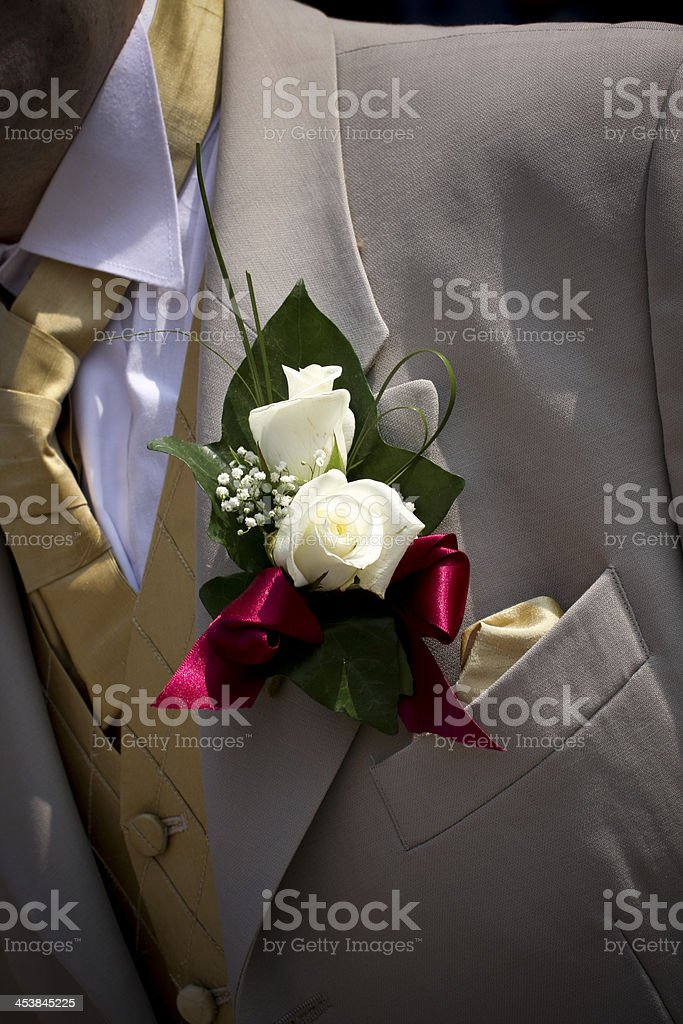 white Roses buttonhole in the groom's suit royalty-free stock photo