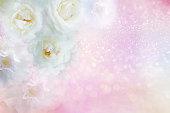 istock white roses flower border on soft glitter background for valentine or wedding card in pastel tone 870412704