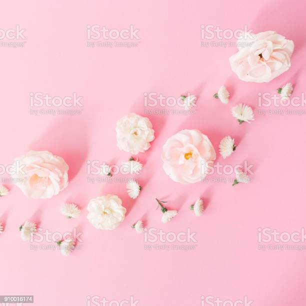 White roses flowers arrangement on pink background flat lay top view picture id910016174?b=1&k=6&m=910016174&s=612x612&h=5ez4zv47 72b3vlz068wzo7gjcdh72afohezjvpufuy=