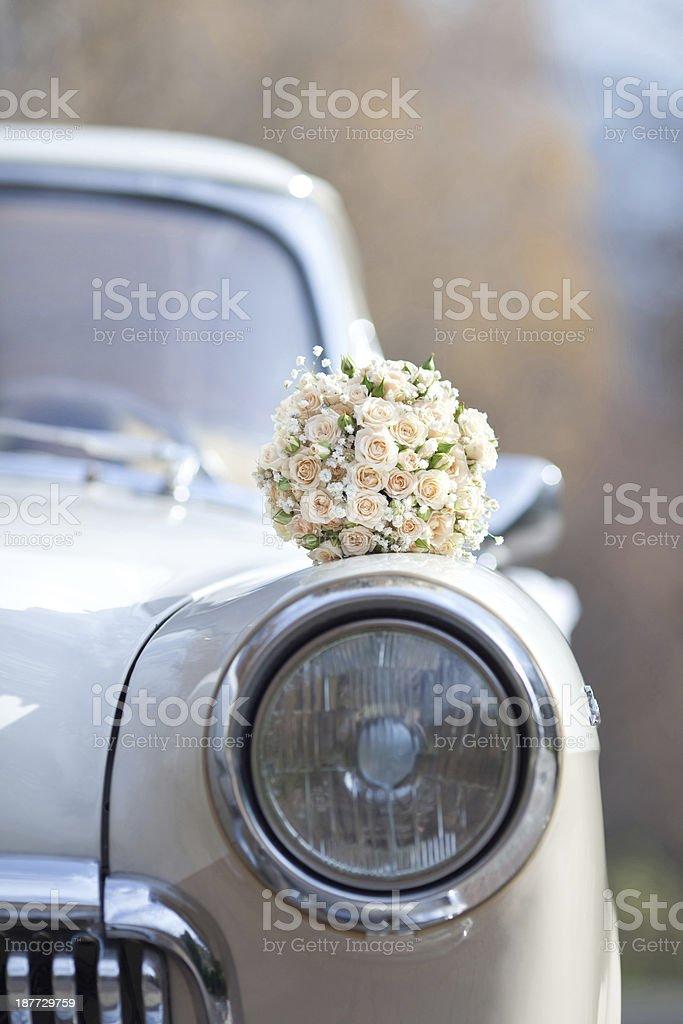 White roses on a white vintage car stock photo