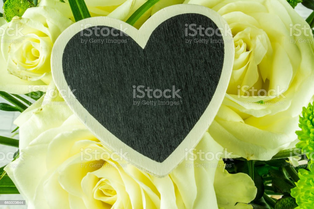White roses with heart for the lettering royalty-free stock photo