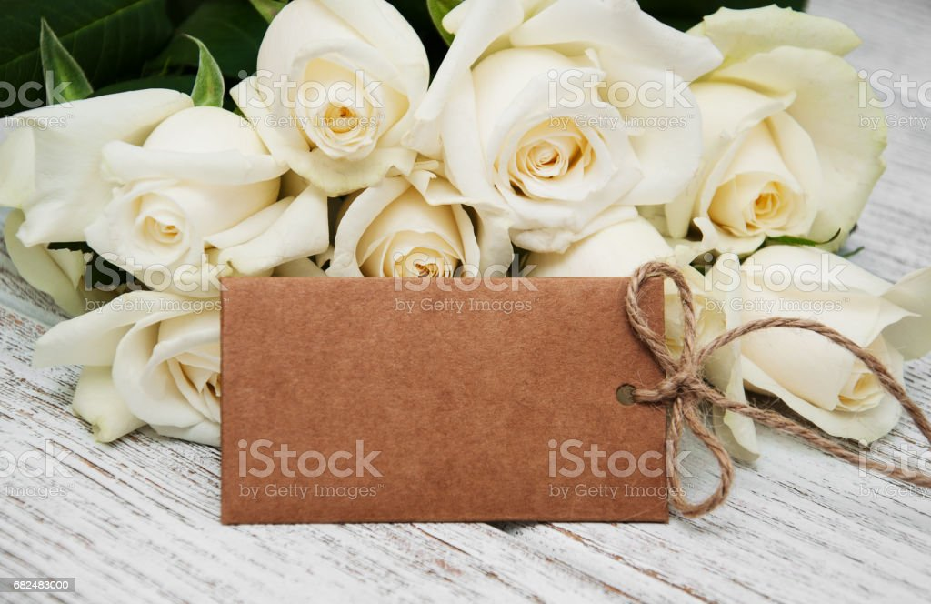 White roses with tag foto stock royalty-free