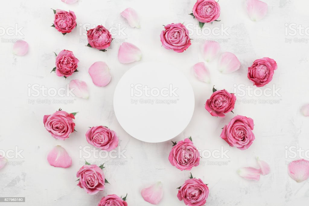 White round blank pink rose flowers and petals for spa or wedding white round blank pink rose flowers and petals for spa or wedding mockup beautiful mightylinksfo