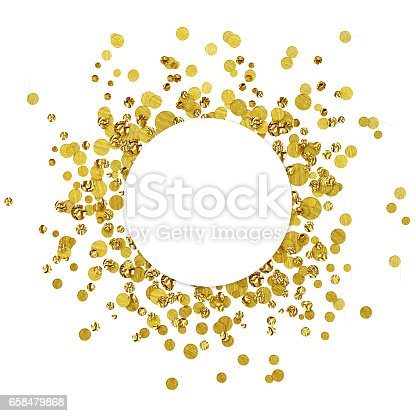 istock White round card on scattered gold confetti 658479868