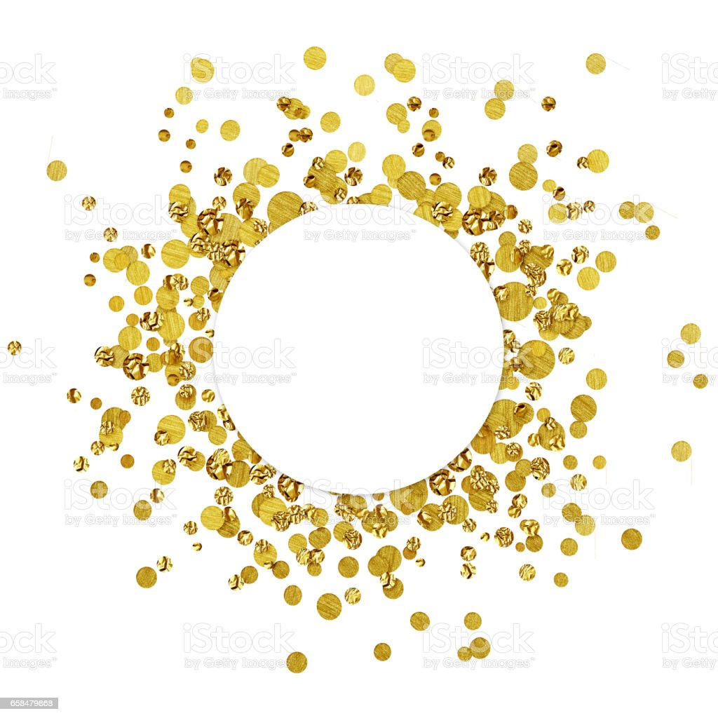 White round card on scattered gold confetti stock photo